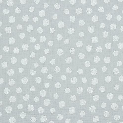 BIO Musselin Big dots lightgrey