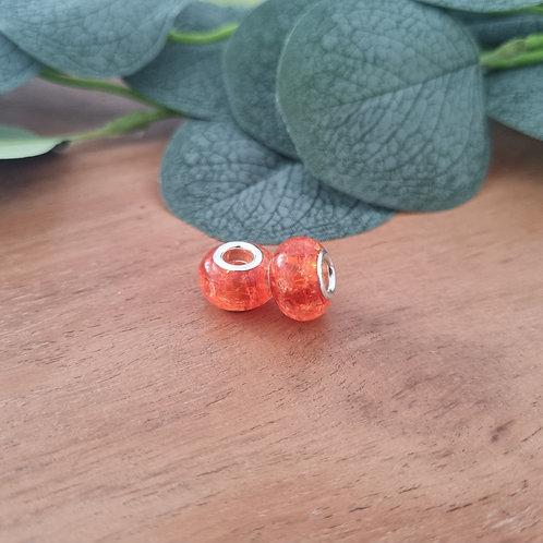 Großlochperlen 14 x 10 mm orange crushed-look