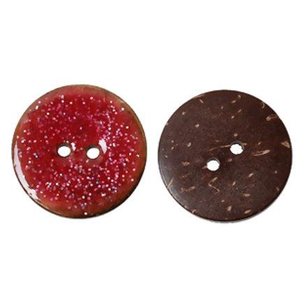 Kokosknopf glitzernd rot 25 mm