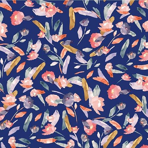 Viskosejersey aquarell - kobaldblau