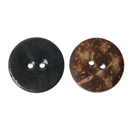 Kokosknopf dunkelgrau 25 mm