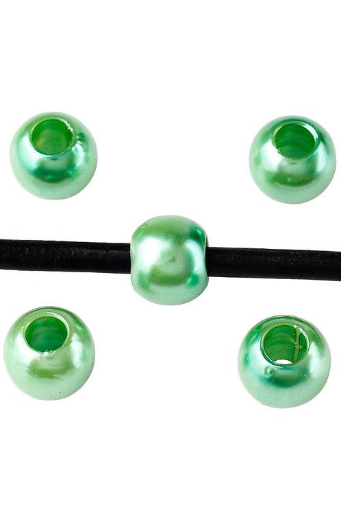 Großlochperlen 12 mm, grün metallic