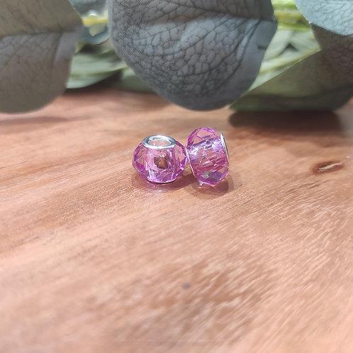 Großlochperle 9 x 14 mm crystal rosa