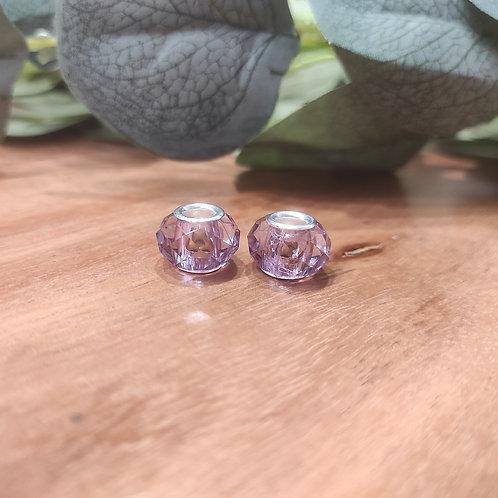 Großlochperle 9 x 14 mm crystal lila