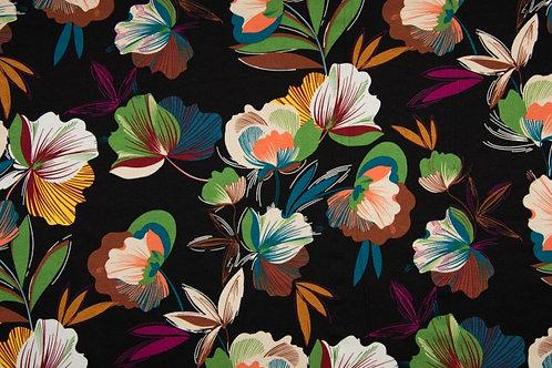 Viskosejersey Flowerboom black/green