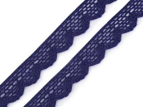 Klöppelspitze aus Baumwoll, 15mm, dunkelblau
