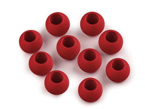 Großlochperle 10 x 12 mm rot matt