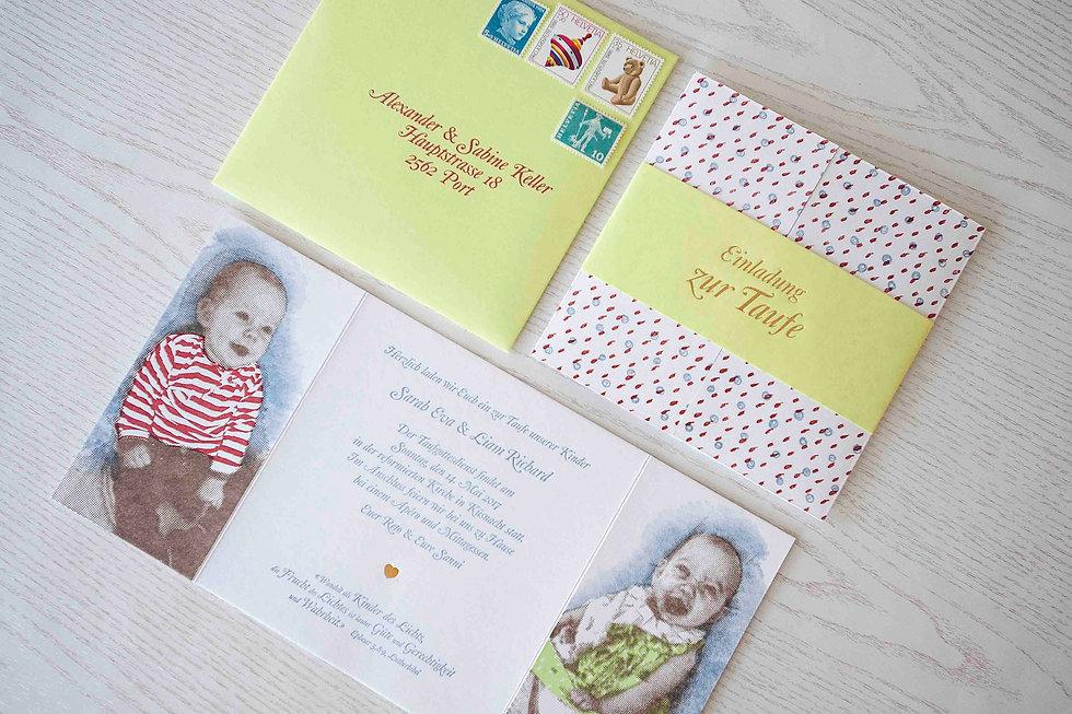 Letterpress taufkarte, gestaltungs- und druckatelier ink on paper, schweiz
