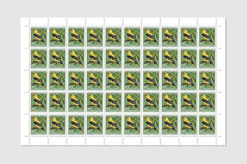 Bird Golden Oriole | Sheet of 50 | 20 RP | Stock: 1 Sheet
