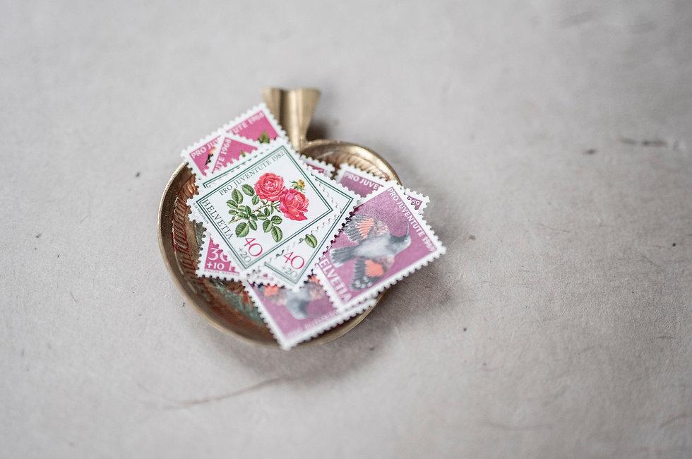 Schweizer Vintage Briefmarken, Ink on Paper