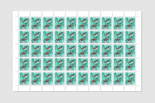 Bird Bluefinch | Sheet of 50 | 20 RP | Stock: 1 Sheet