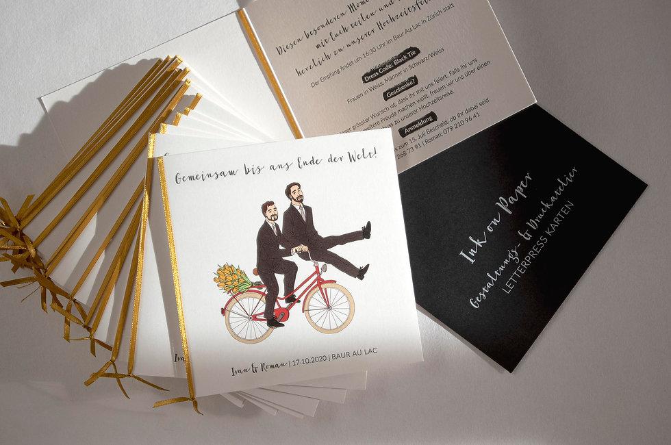 Letterpress Hochzeitskarte, Gestaltungs- und Druckatelie Ink on Paper, Schweiz, Hochzeitspapeterie