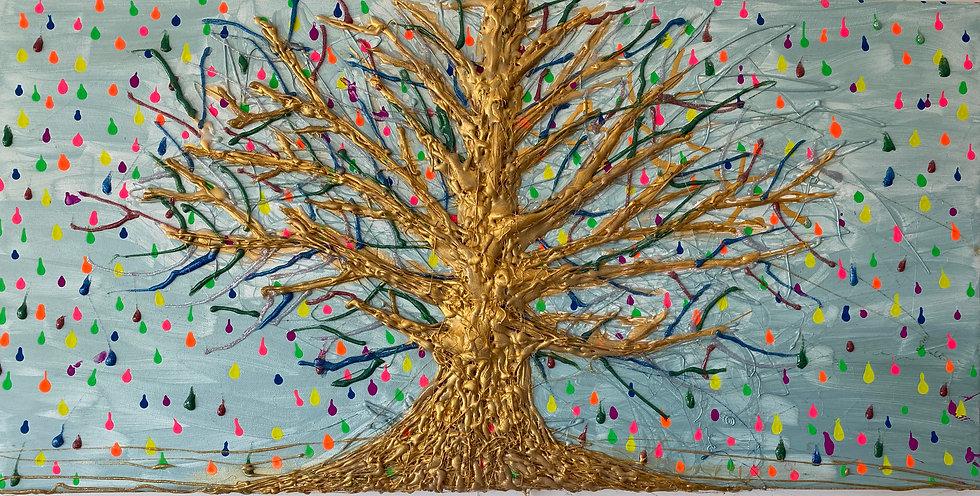 Der Goldene Baum und seine Regenbogen Tropfen