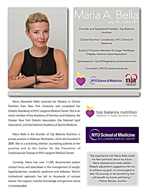 Media Kit: Maria Bella, MS, RD, CDN | Top Balance Nutrition