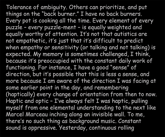 Being and Autism, text panel 4