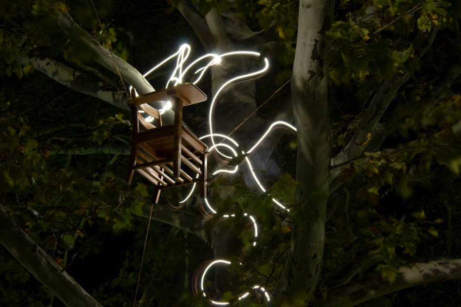 Mickey Williamson, Desk Suspended in a Tree with Wavy Light