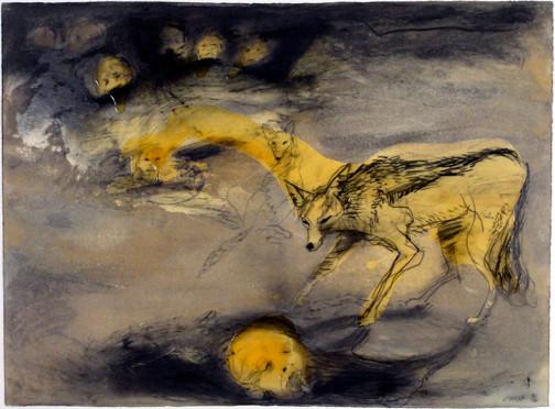 Lorna Marsh. Jackyl. 1996. Charcoal, ink wash, acrylic gel.