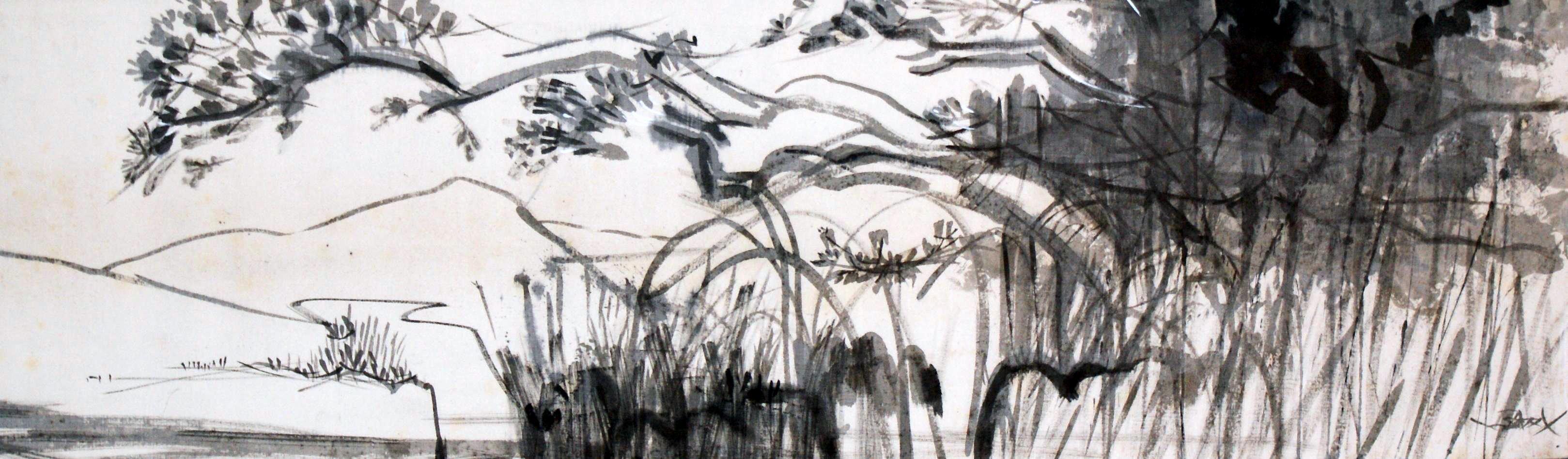 Au bord de l'étang 93x28
