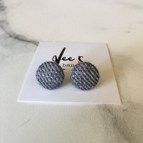 'Grey Linen' Button Earrings