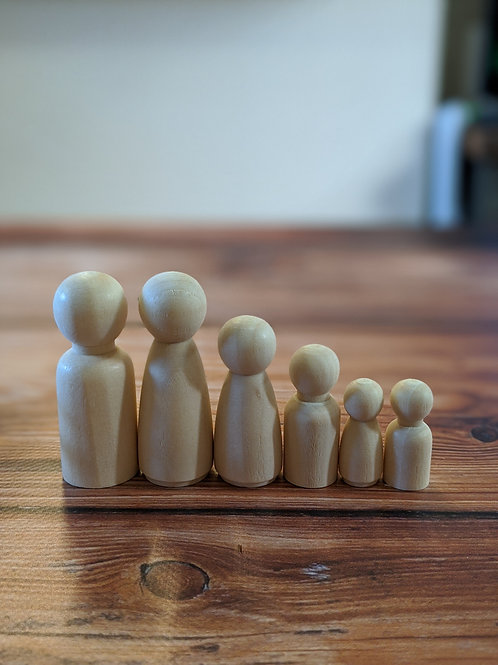 Natural Wooden Peg Doll Family