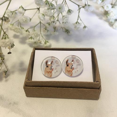 'Llama' Glass Earrings