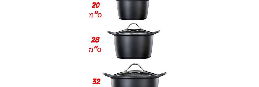 סט 3 סירים FOOD APPEAL BLACK MARBLE