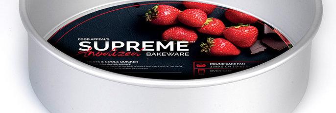 """תבנית עוגה תחתית נשלפת 9.5*22 ס""""מ גבוהה במיוחד SUPREME ANODIZED"""