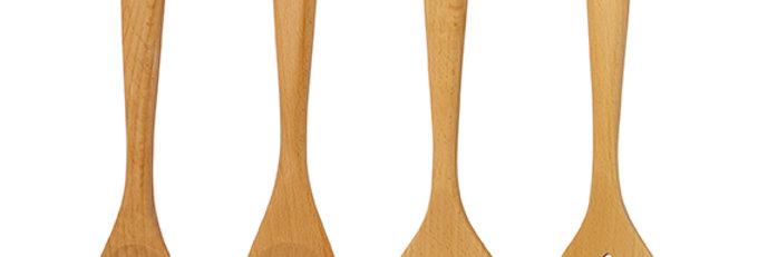 מארז 4 כלי ששת מעץ - תרבד \ תרבד מחורץ \ כף \ כף מחורצת