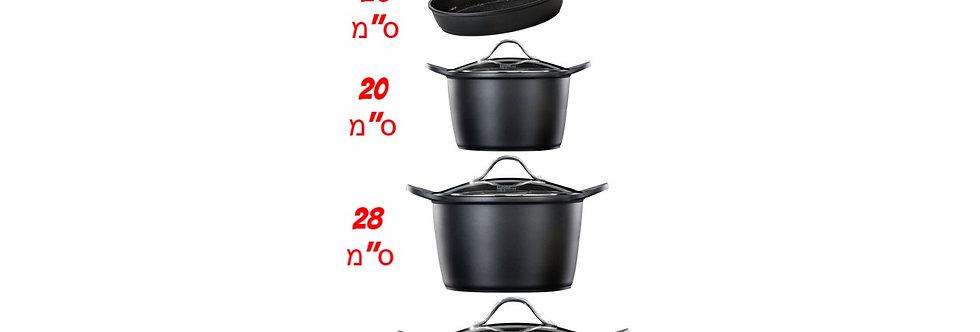 סט 3 סירים ומחבת FOOD APPEAL BLACK MARBLE