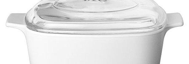 סיר מרובע 3 ל' + מכסה זכוכית Winter Frost White