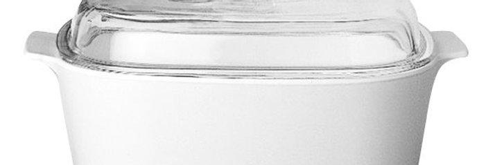 סיר מרובע 5 ל' + מכסה זכוכית Winter Frost White