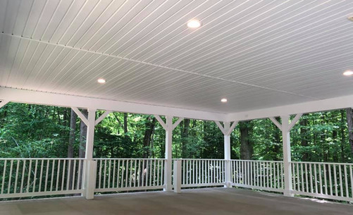 Covered carport with lights