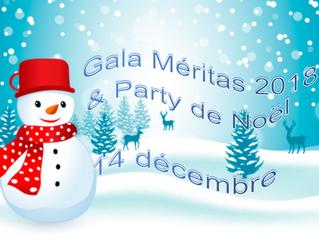 GALA MÉRITAS ET PARTY DE NOËL       14 DÉCEMBRE 2018