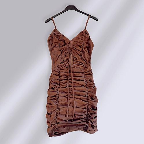 Brown Rib Knit Plunge Neck Bodycon Midi Dress