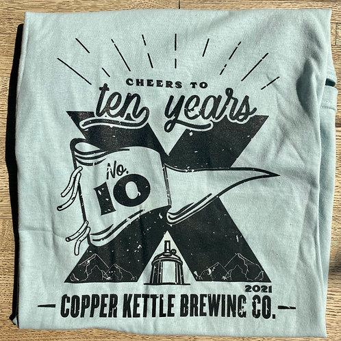 Blue Unisex 10 Year Anniversary T-Shirt