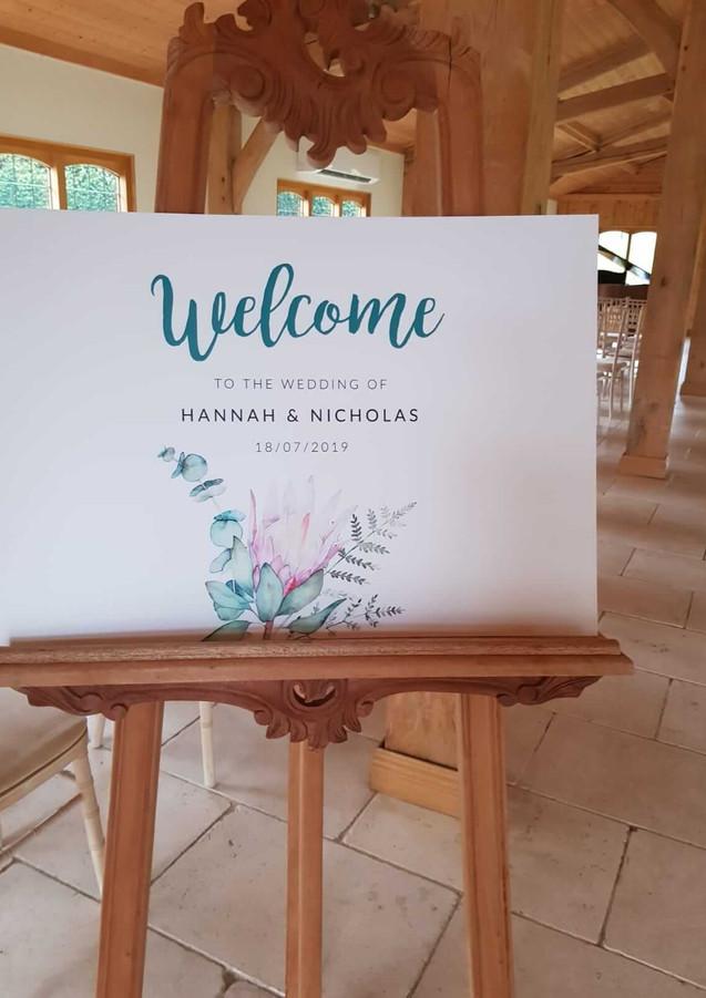 Hannah's welcome board
