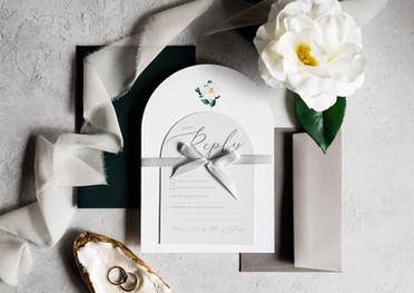 Elegant Arch Wedding Invitation and RSVP Card