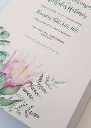 Protea Flower Wedding Invitation