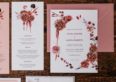 Scarlett Bouquet Invitation and Menu