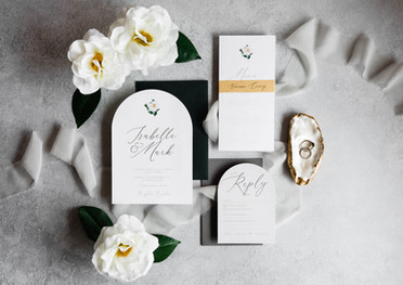 Elegant Arch Invitation, Menu and RSVP Card