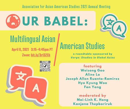 AAAS 2021 Our Babel: Multilingual Asian American Studies