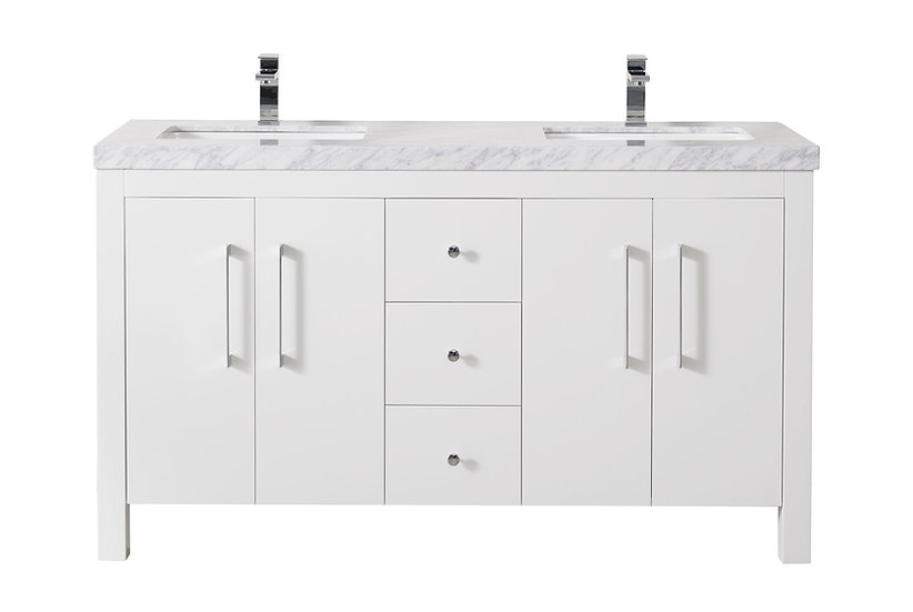 """Adler 60"""" White Double Sink Vanity with Drains and Faucets in Chrome"""