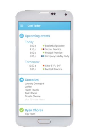 Cosy App display organisation help planning