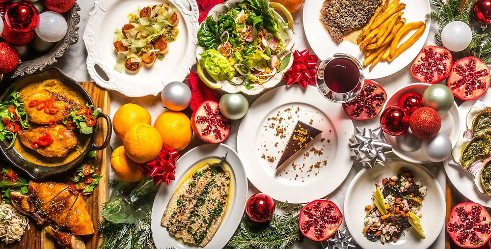 table with healthy Christmas food