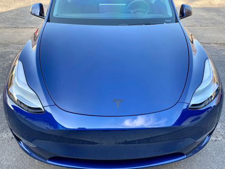 Paint Protection Film On A 2021 Tesla. Entire bumper, fender, bumper, mirrors, and door edges.