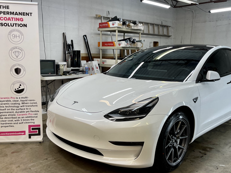 Ceramic coating and paint protection film (ppf) on a 2021 Tesla model 3