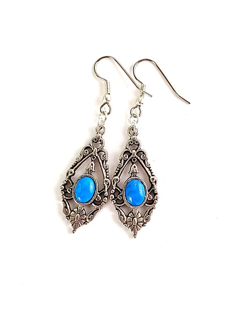 Women's Dyed Howlite Victorian style dangle earrings