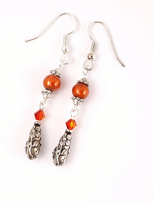 Women's Floral orange dangle earrings