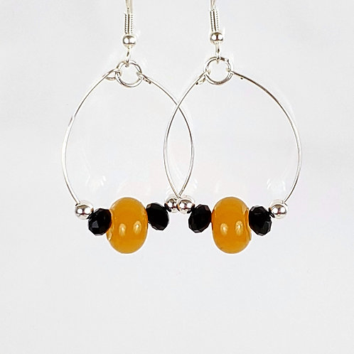 Women's large oval hoop earrings, yellow, black and silver