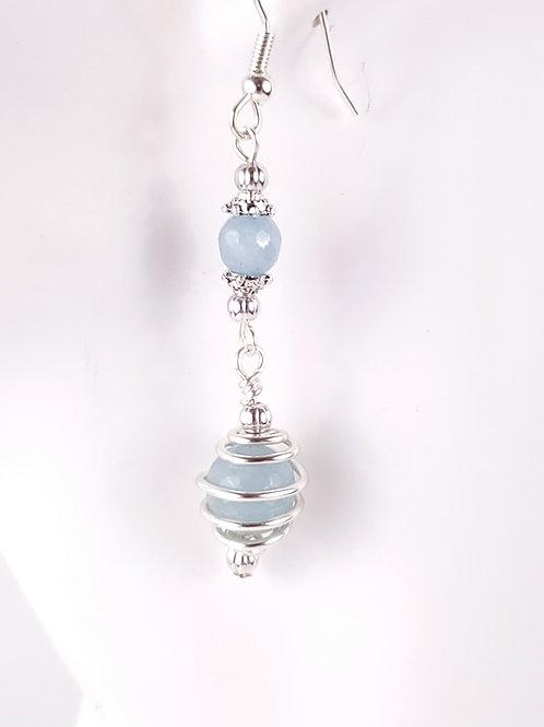 Aquamarine jade earrings-caged 8 mm bead